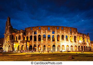 colosseum, イタリア, 照らされた, 夜