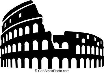 colosseum, シルエット, ローマ