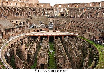 colosseum, ローマ, イタリア, 台なし