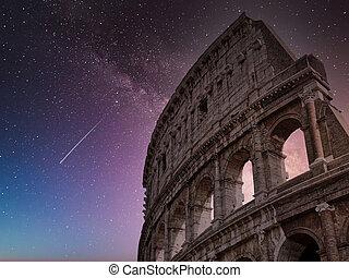 colosseum, ローマ, 星が多い, イタリア, 空