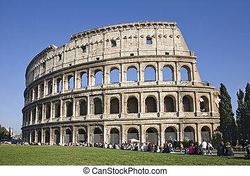 colosseum, 世界, 著名的里程碑, 在中, rome, italy.panorama