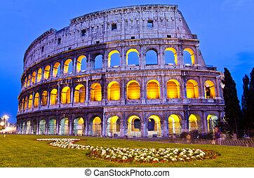 colosseum, 夜, イタリア, ローマ