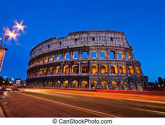 colosseum, 夜, ローマ, イタリア
