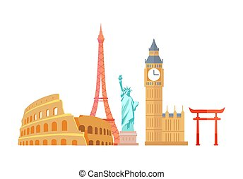Colosseum and Eiffel Tower Vector Illustration - Colosseum...