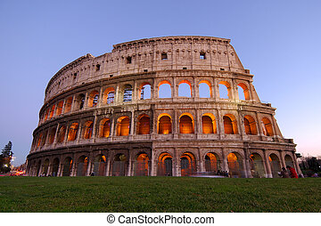 colosseum at dusk - Stunning view of the roman colosseum lit...