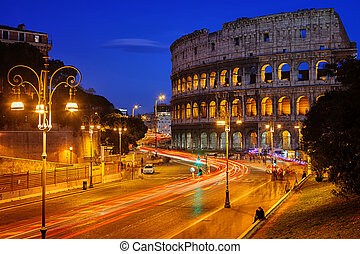 Colosseum at night - Nightview of Colosseum in Rome, Italy