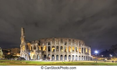 Colosseum at night. Rome, Italy. Time Lapse
