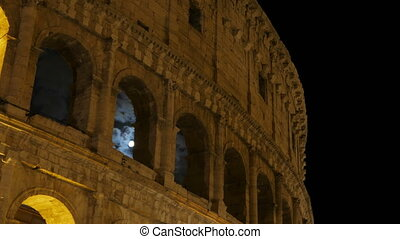 """Colosseum at night, rome, italy, timelapse, zoom out, 4k"""