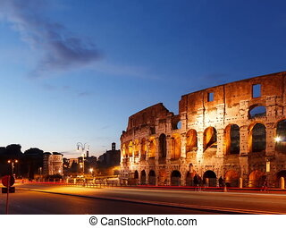 Colosseum at sunset. Rome, Italy. Time Lapse. 4x3