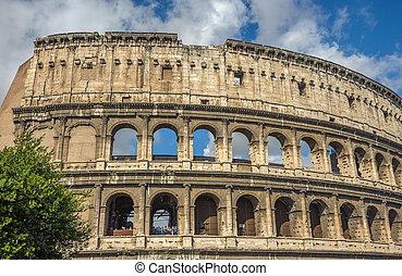 Colosseum (Coliseum), major tourist attraction in Rome,...