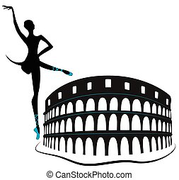 Colosseum Coliseum - Rome's historic sites and dancing woman