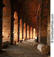 Colosseum corridor Rome Thailand - Walkway inside the...