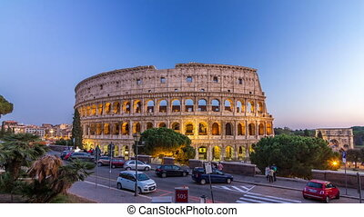 Colosseum day to night timelapse after sunset, Rome. -...