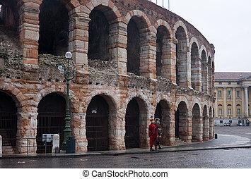 colosseum, details amphitheatre Arena in Verona, Italy