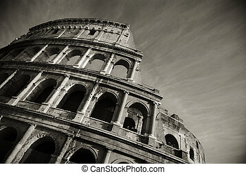 stunning view of the roman colosseum in black and white