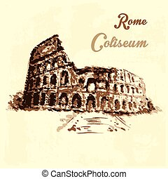 Colosseum, hand drawing watercolor style