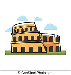 Colosseum historic building - Vector illustration of...