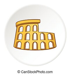 Colosseum icon, cartoon style
