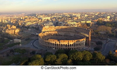 Colosseum in Rome - aerial view.