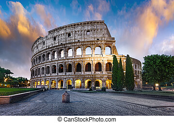 Colosseum in Rome at dusk, Italy - Colosseum in Rome at...