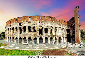 Colosseum in Rome at sunset