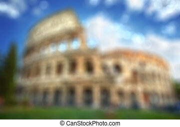 Colosseum in Rome - natural blurred background - Colosseum...