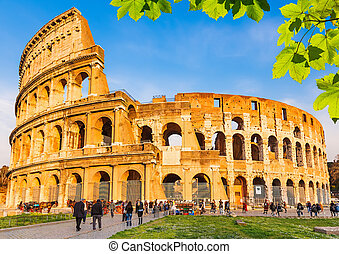 Colosseum in Rome - Colosseum with green leaves in Rome,...