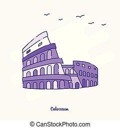 COLOSSEUM Landmark Purple Dotted Line skyline vector illustration