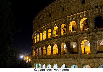 Colosseum night view, Rome landmark, Italy
