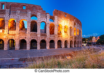 Colosseum or Coliseum at night, Rome, Italy. - Colosseum or...