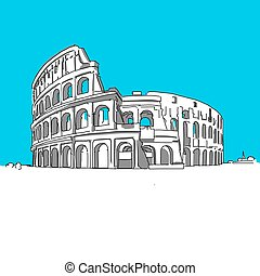 Colosseum Rom, hand-drawn vector drawing, blue series