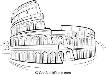 colosseum, roma, itália, desenho