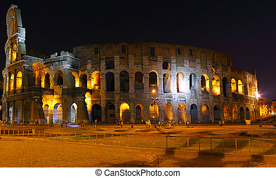 colosseum, rome., 夜晚, 察看