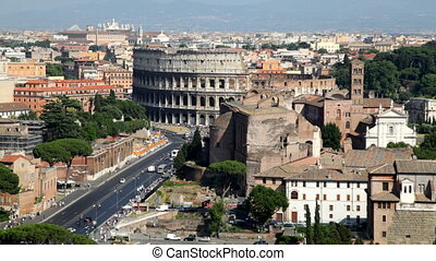 Colosseum, Rome - Afternoon Traffic near the Colosseum in...