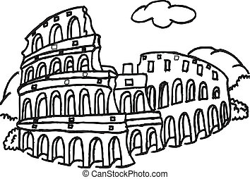 Roman Colosseum Drawing Step By Step