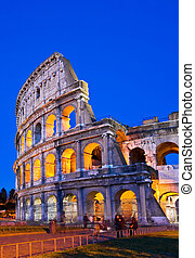 colosseum rome italy night - closeup of Colosseum at Dusk,...