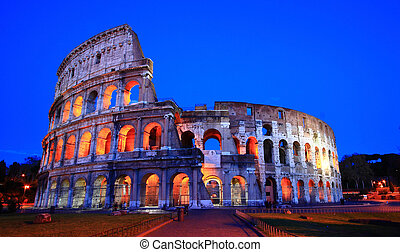 Colosseum Rome italy night - Colosseum at dusk, Rome Italy