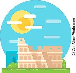 Colosseum ruin flat design landmark