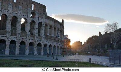 Colosseum, Sunrise. Rome, Italy. UltraHD (4K)