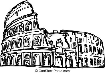 colosseum - vector illustration sketch hand drawn isolated on white background