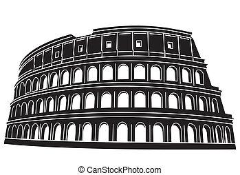 colosseum, w, rzym, włochy