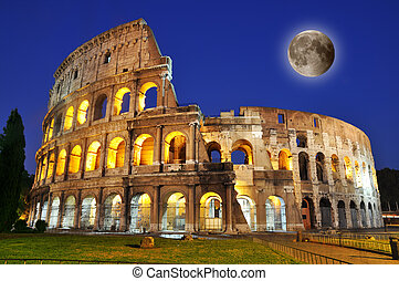Colosseum with full moon