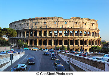 Colosseum, world famous landmark in Rome, Italy. Colosseum is largest ancient Roman amphitheater