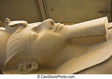Details of Egyptian art, pharaohs, temples, paintings, statues.