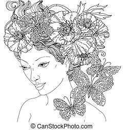 coloting book antistress style picture - Uncoloured woman...