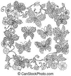 coloting book antistress style picture - Uncoloured flowers...
