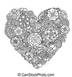 Uncoloured sweets and butterfly for adult coloring book in famous zenart art-therapy antistress style. Hand-drawn, retro, doodle, vector, mandala style, uncoloured for coloring book or poster design.