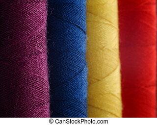 colouful, algodão, carretéis