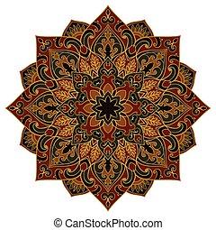 Vector floral mandala. Oriental stylized design element. Symbolic dark ornament.