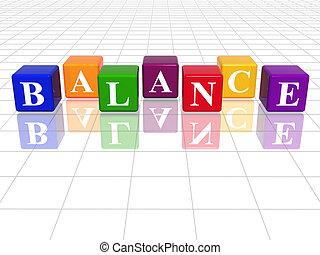 colour balance - 3d colour cubes with text - balance, word, ...